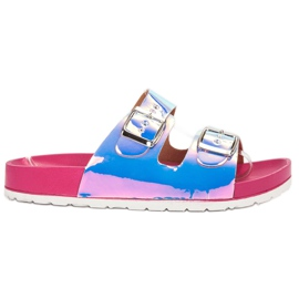 Ideal Shoes grijs Slippers met holo-gesp