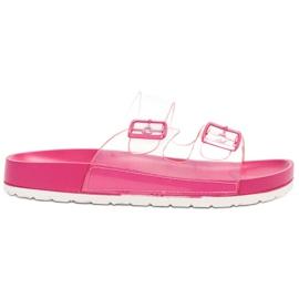 Ideal Shoes roze Transparante flappen Se gesp