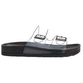Ideal Shoes zwart Transparante flappen Se gesp