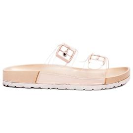 Ideal Shoes bruin Transparante flappen Se gesp