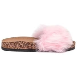 Bona roze Slippers met bont