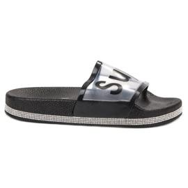 Bona zwart Transparante flip flops