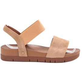 Primavera bruin Suede sandalen met elastische band