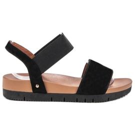 Primavera zwart Suede sandalen met elastische band