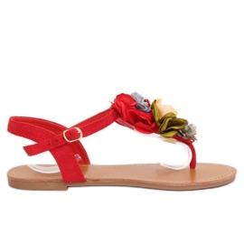 Slippers met bloemen rood L518 Rood