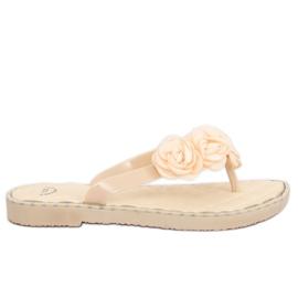 Bruin Slippers met bloemen beige YJL-1818 Beż