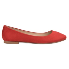 Small Swan rood Rode suede ballerina