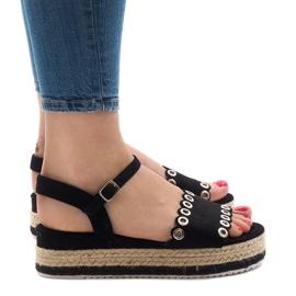 Zwarte sandalen op platform 99-46