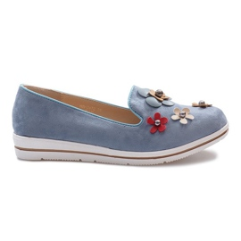 Blauwe slip-on Multi Flower sleehakken