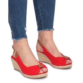 Rood Rode Zoe espadrilles sandalen met sleehak