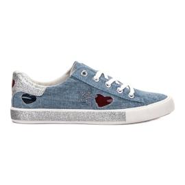 Kylie blauw Sneakers met brokaat
