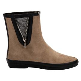 Kylie bruin Suede Wellington laarzen met decoratieve rits