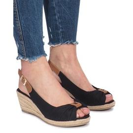 Zwarte Zoe espadrilles sandalen met sleehak
