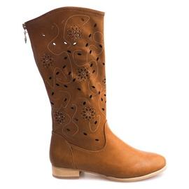 Bruin Opengewerkte laarzen TLT1301 Camel
