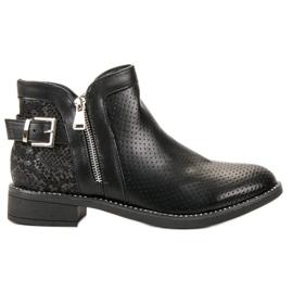 Bestelle Zwarte laarzen slangenprint
