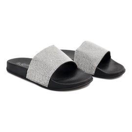 Grijs Glanzende slippers met pailletten SL-32 zwart