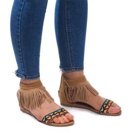 Bruin Suede Boho sandalen 3-2 Camel