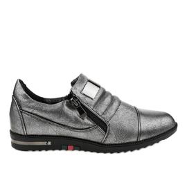 Grijs Grijze schoenen met rits H034