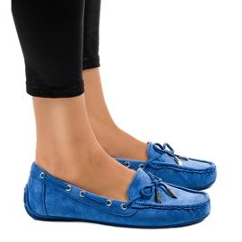 Blauwe loafers ballerina's met een boog F03-3
