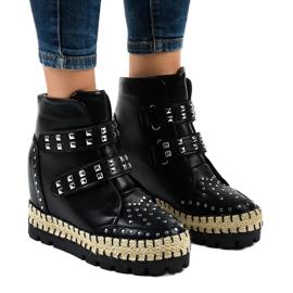 Zwarte trappet boots voor dames op de sleehak AJ-546