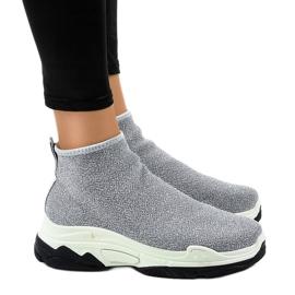 Grijs Grijze sportschoenen met elastische LA33P