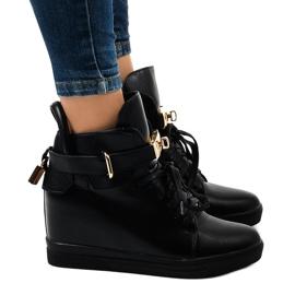 Zwarte wedge sneakers met een H6600A-gesp