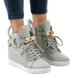 Grijs Grijze wedge sneakers met een gesp H6600-26
