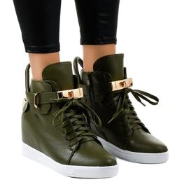 Groene wedge sneakers met een gesp H6600-77