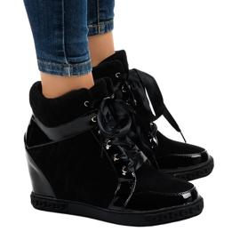 Modieuze zwarte wedge sneakers KLS-109-3