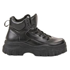 Kylie zwart Geregen schoeisel op het platform