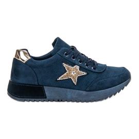 SHELOVET blauw Navy suede sneakers