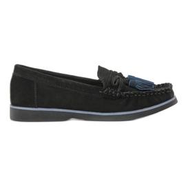 Filippo Leren loafers met franjes zwart
