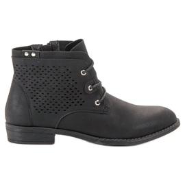 Groto Gogo Opengewerkte zwarte laarzen