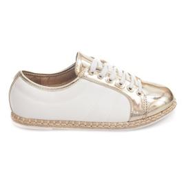 Linnen Sneakers Espadrilles Q52 Goud geel