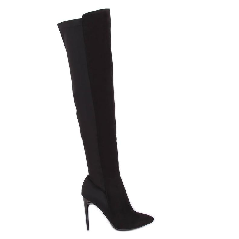 Zwarte dij-hoge laarzen zwart 0H010 zwart