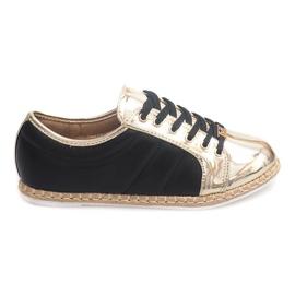 Linnen Sneakers Espadrilles Q52 Zwart