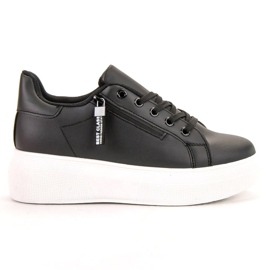 SHELOVET zwart Geregen schoeisel op het platform