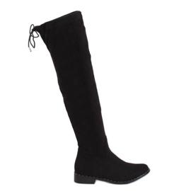 Zwarte suede laarzen QT04P Zwart