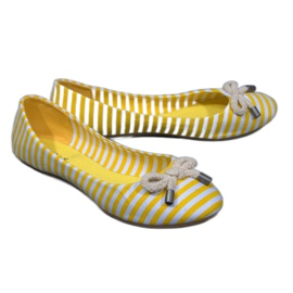 Geel Gestreepte ballerina's met 16-C gele strik