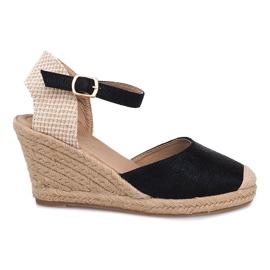 Espadrilles Wedge Sandalen Laarzen A198-3 Zwart