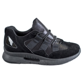 SHELOVET zwart Suede sportschoenen