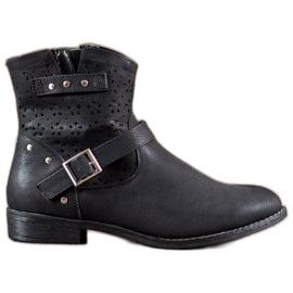 Groto Gogo zwart Opengewerkte laarzen met een gesp