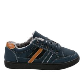 Marine Donkerblauwe heren sneakers met bont E753M-2
