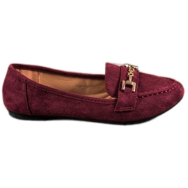 Abloom rood Suede Lords With Decoration