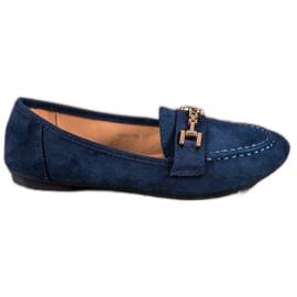 Abloom blauw Suede Lords With Decoration