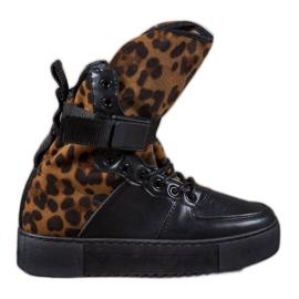 Diamantique zwart Hoge laarzen met luipaardprint