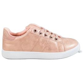 SHELOVET roze Sneakers met brokaat