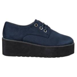 SHELOVET blauw Suède schoenen op het platform