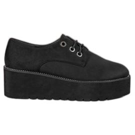 SHELOVET zwart Suède schoenen op het platform