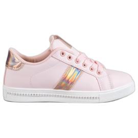 SHELOVET roze Sneakers met zirconia
